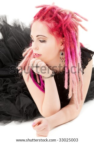 picture of bizarre pink hair girl over white - stock photo