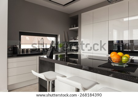 Picture of black and white kitchen design - stock photo