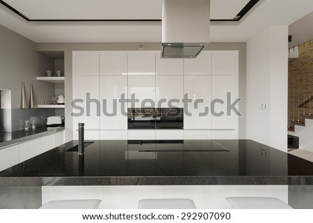 Picture of black and white kitchen interior