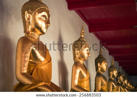 Picture of Buddha statue at Wat Pho temple. Bangkok, Thailand.