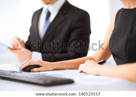 picture of business team on meeting using computer