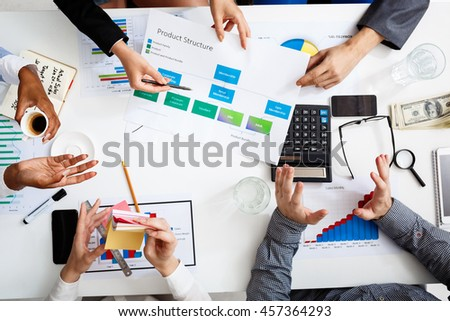Picture of businessmen's hands on white table with documents and drafts