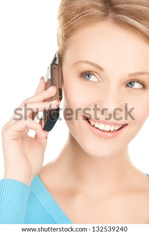 picture of businesswoman with cell phone calling - stock photo