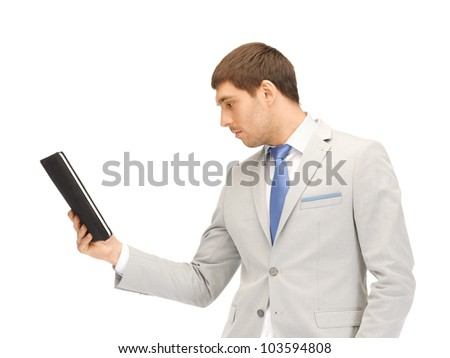 picture of calm man with tablet pc computer