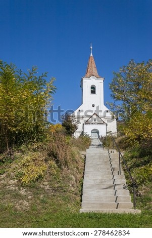 picture of Calvinist church in the village of Bede, Mures county, Romania