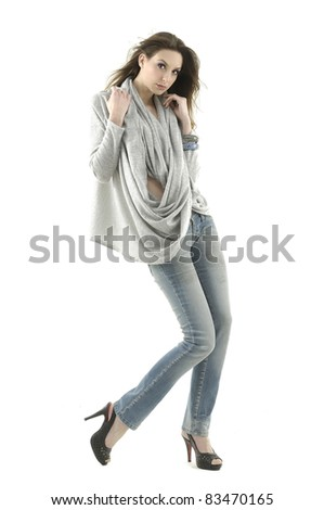 picture of casual young woman in blue jeans - stock photo