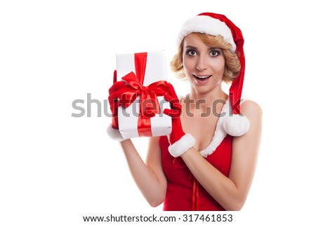 Picture of cheerful santa helper  blond girl with gift box
