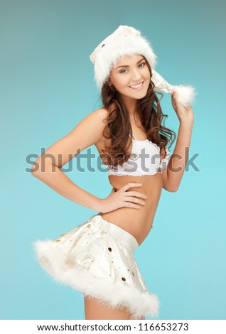 picture of cheerful santa helper girl in lingerie.