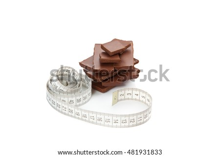 Picture of chocolate  and tape-measure isolated on white