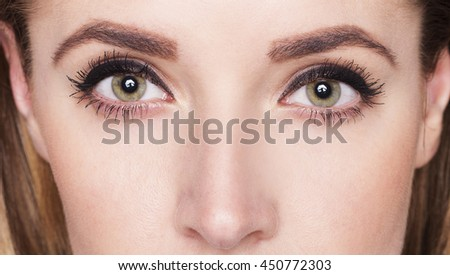 Picture of close up eyes of young woman with make up
