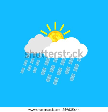 picture of clouds, sun in form of coins and rain in form of banknotes - stock photo