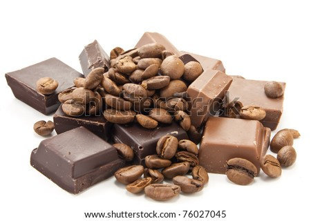 Picture of coffee beans and chocolate on a white background