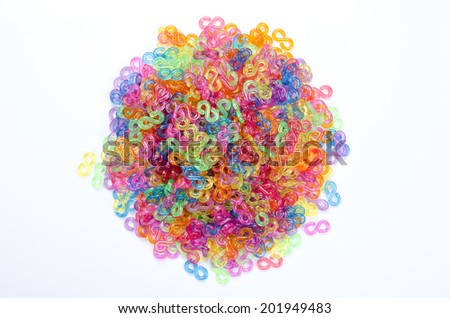 Picture of colorful plastic chain put as circle isolated with white background.