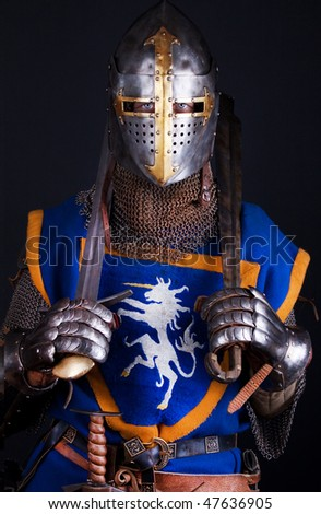 Picture of confident warrior with  swords - stock photo