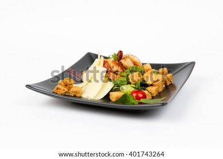 Picture of delicious cesar salad with shrimps