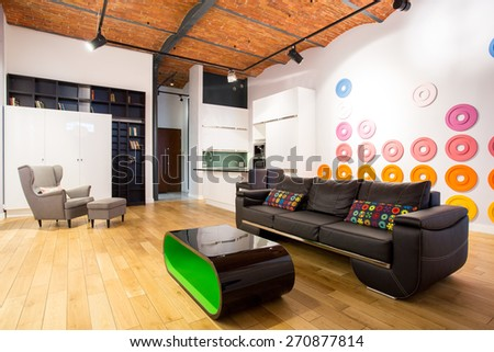Picture of designed interior with contemporary furniture - stock photo