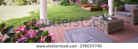 Picture of designed porch with garden furniture - stock photo