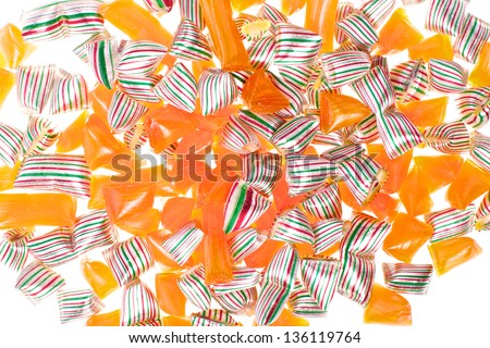 Picture of different sweets and candy on a white isolated background - stock photo