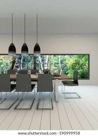 Picture of dining room interior with dining table and setting - stock photo