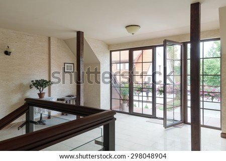 Picture of empty hall with huge window - stock photo