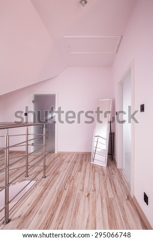 Picture of empty lobby in unfurnished house - stock photo