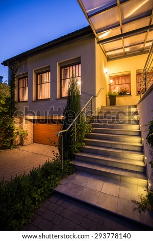 Picture of entrance to modern detached house - stock photo