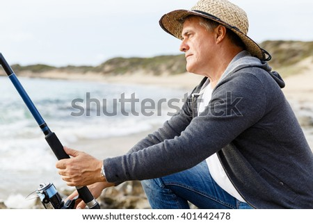 Picture of fisherman  - stock photo