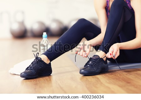 Picture of fit woman getting ready for aerobics - stock photo