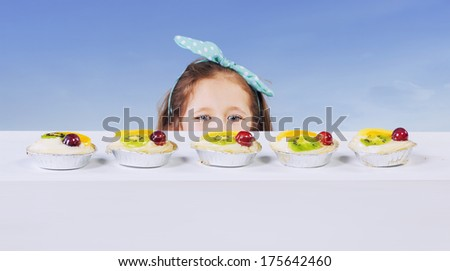 Picture of funny little girl - stock photo