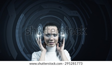 Picture of futuristic woman working with virtual technology