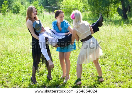 Picture of gangsters women steals man - stock photo