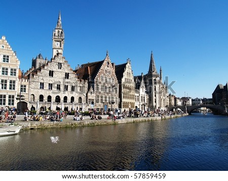 Picture of Ghent, Belgium in a sunny day - stock photo