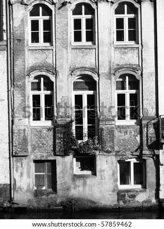 Picture of Ghent, old house facade riverside