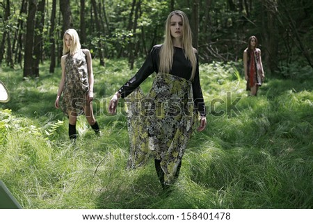 picture of girls standing in the green woods, beautiful girls in a tall forest grass  - stock photo