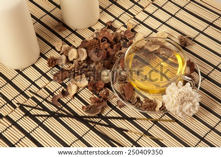 Picture of green tea, candles and shells on bamboo mat - stock photo