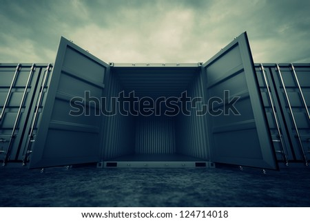Picture of grey open containers in the row. - stock photo