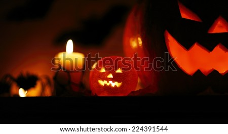 Picture of halloween holiday background, carved glowing pumpkin and black bat in dark night, jack-o-lantern, creepy nightmare, scary shadow, halloween celebration - stock photo