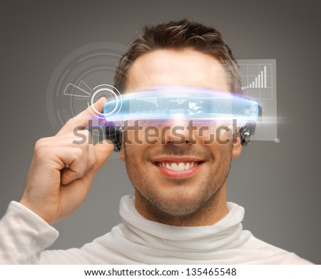 picture of handsome businessman with digital glasses - stock photo