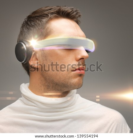 picture of handsome man with futuristic glasses