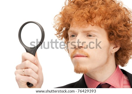 picture of handsome man with magnifying glass