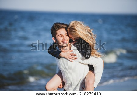 picture of happy couple on the beach. - stock photo