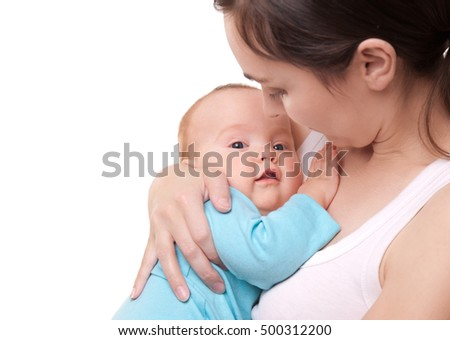Picture of happy mother and her adorable baby isolated on white