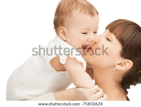 picture of happy mother with adorable baby (focus on woman)