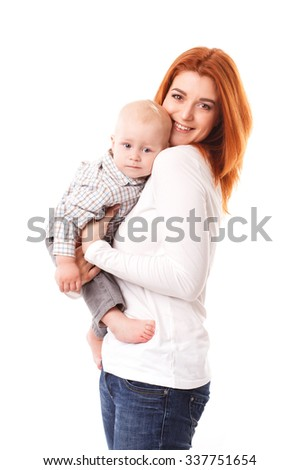 Picture of happy mother with adorable baby isolated on white