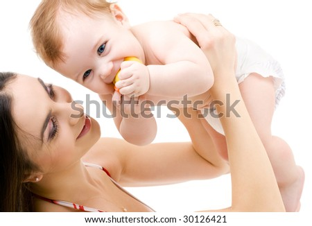picture of happy mother with baby boy - stock photo