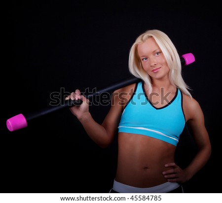 Picture of happy sportswoman during her training - stock photo
