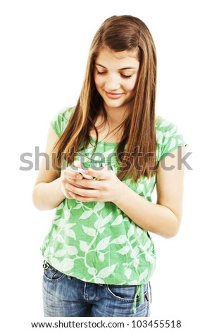 Picture of happy teenage girl with cell phone over white background - stock photo