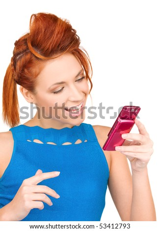 picture of happy woman with cell phone