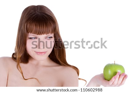 picture of happy woman with green apple - stock photo