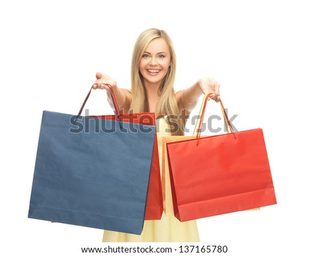 picture of happy woman with shopping bags . - stock photo